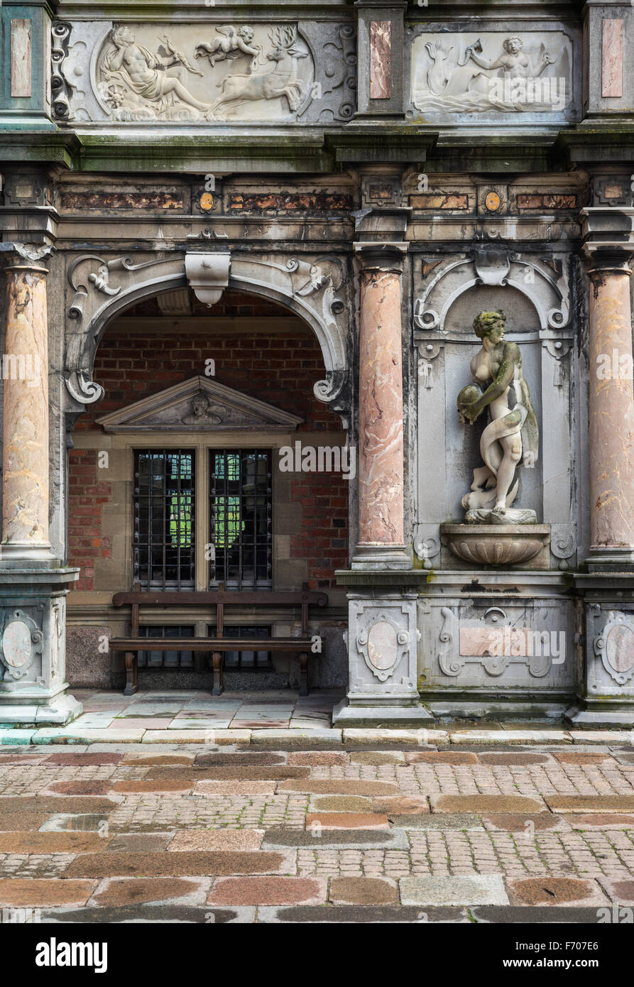 Portal in  the Frederiksborg Castle (Slot), a Baroque palatial complex in Hillerod, Denmark - Stock Image