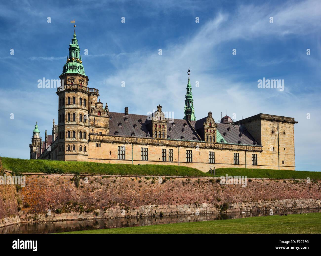 Kronborg castle the Helsingor (Elsinore) town, Denmark - Stock Image