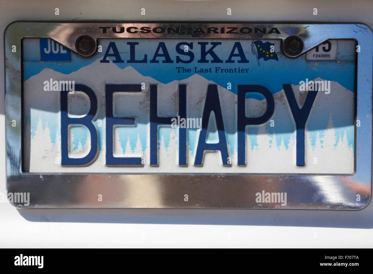 Behapy vanity license plate, Alaska, means 'Be Happy' - Stock Image