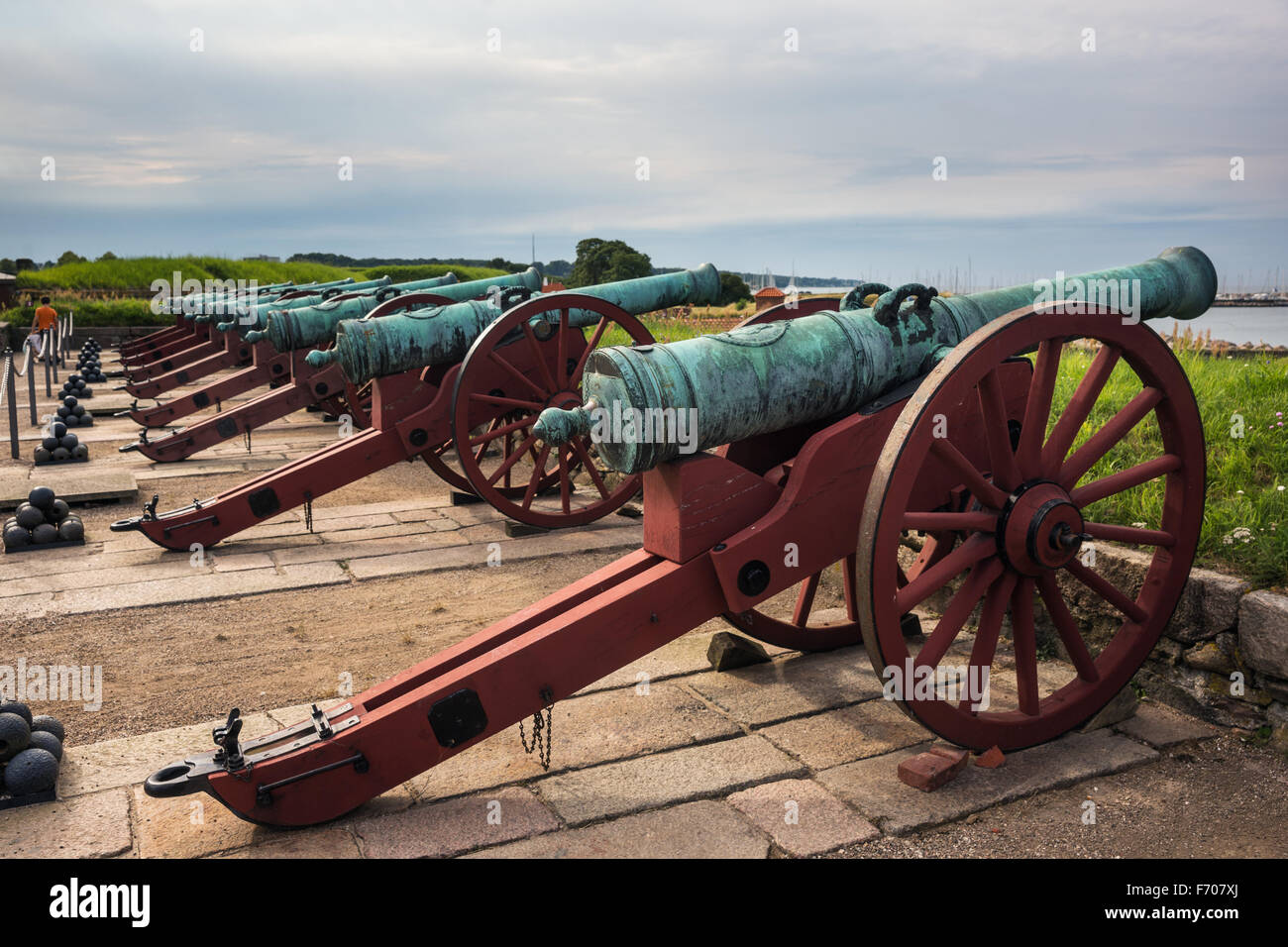 Old  cannons in  the Kronborg castle the Helsingor (Elsinore) town, Denmark - Stock Image