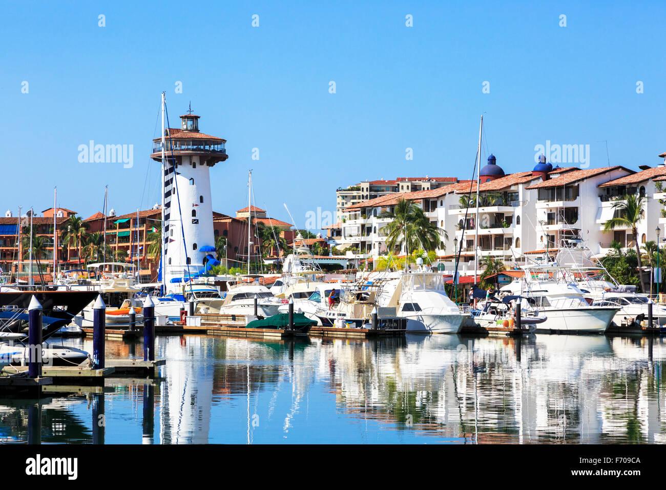 Marina at Puerto Vallarta, Mexico - Stock Image
