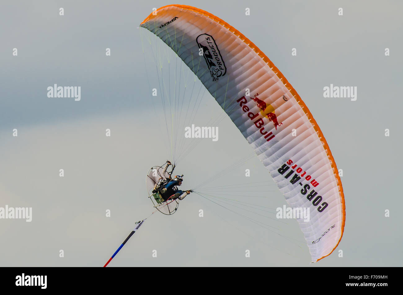 Pal Takats was part of the RedBull Air-Race series performing paramotor displays using an Ozone Viper 2 - Stock Image