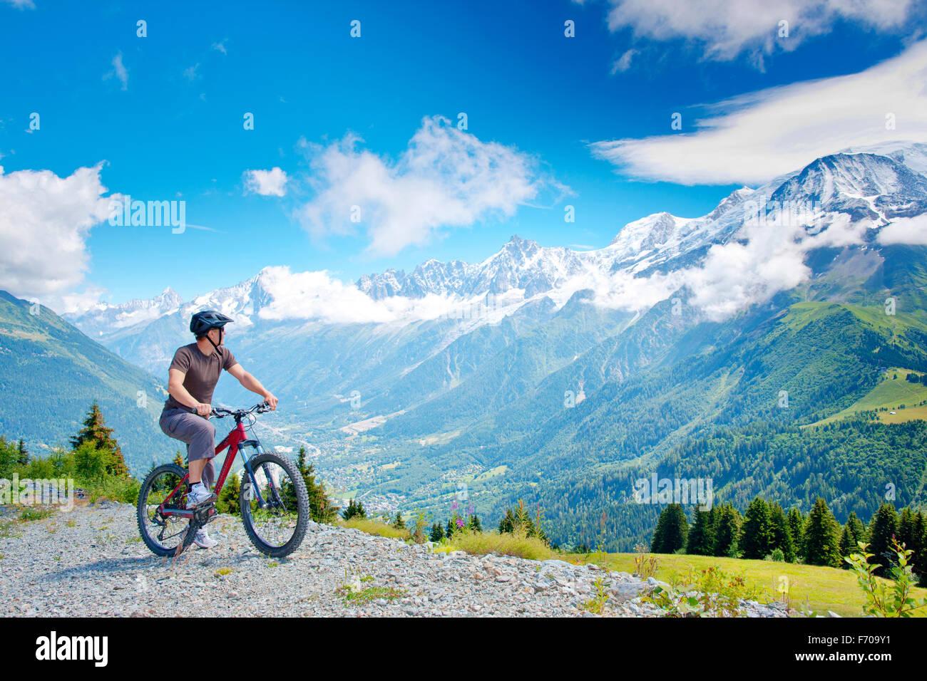 Male mountain bike French Chamonix - Stock Image