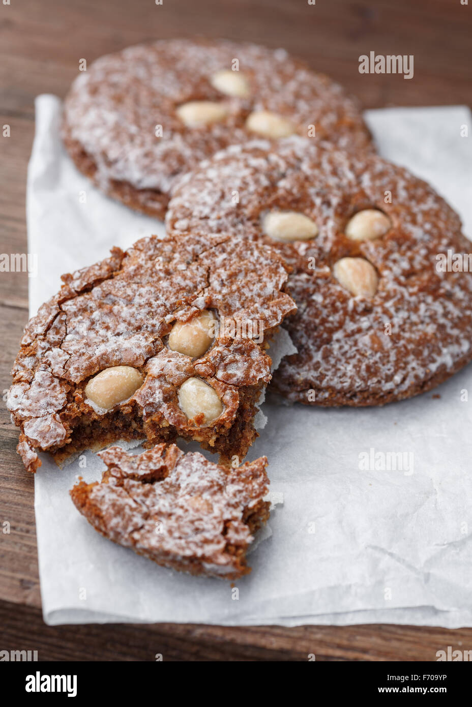 Lebkuchen, german Spice Cookies with almonds - Stock Image