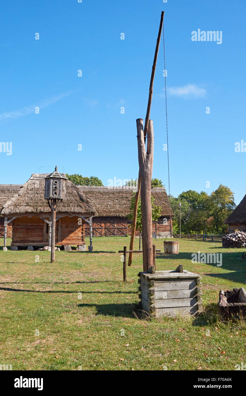 The Museum of the Mazovian Countryside in Sierpc, Poland. 19th century peasant village. - Stock Image