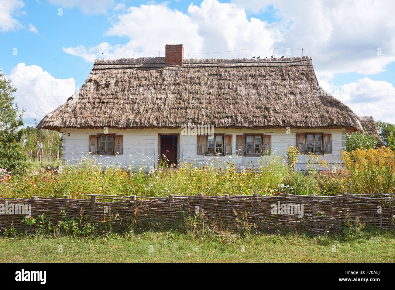 The Museum of the Mazovian Countryside in Sierpc, Poland. 19th century wooden thatched farmhouse. - Stock Image