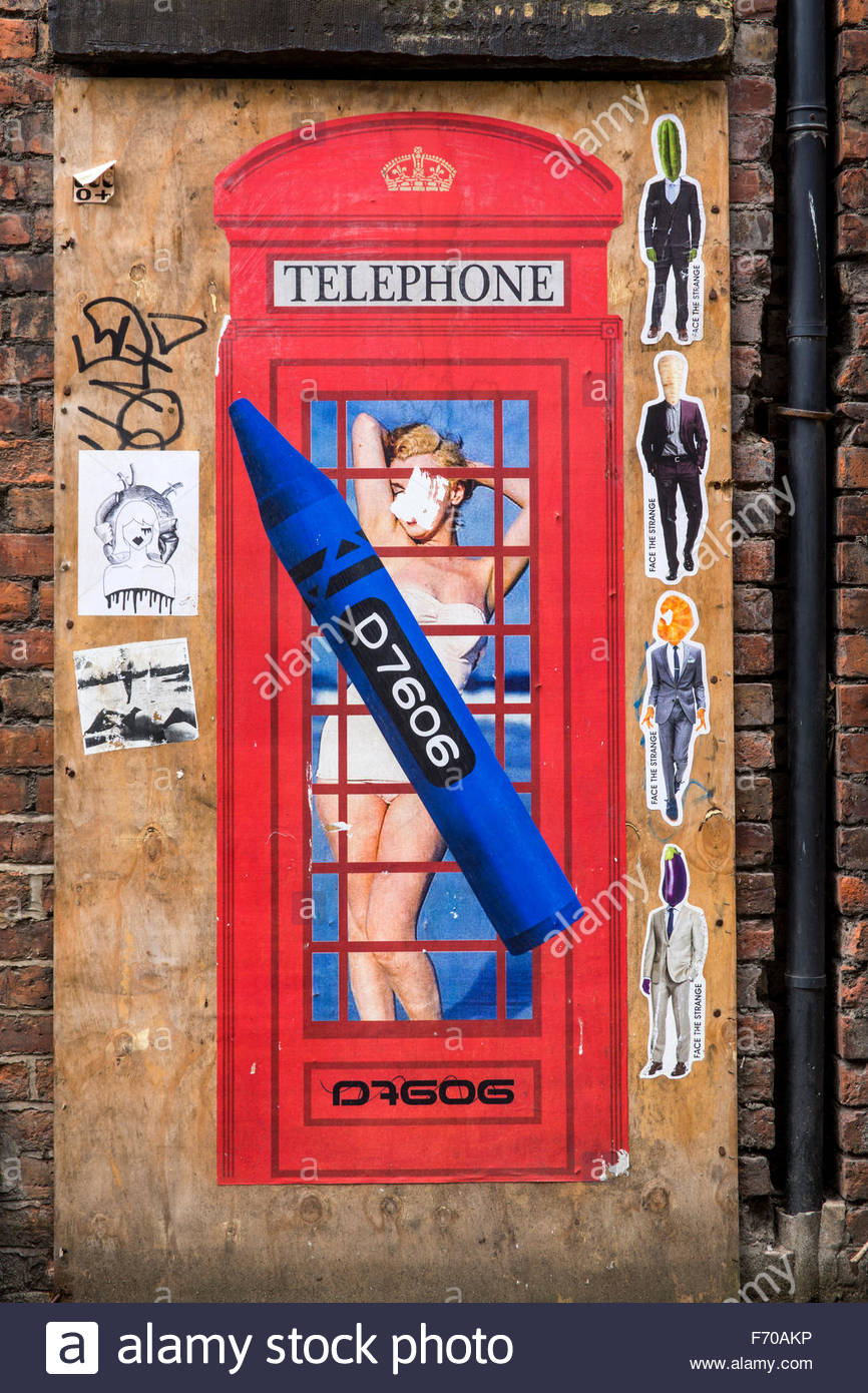 Mural by D7606 on a boarded up door at Spear Street, off Stevenson Square, Northern Quarter, Manchester, England, - Stock Image