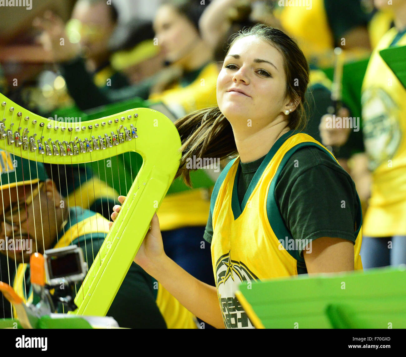 The George Mason pep band, The Green Machine, performs during the NCAA Basketball game between the George Mason Stock Photo