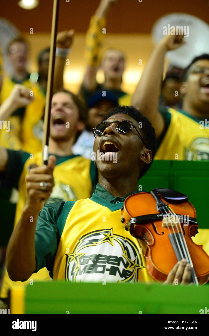 The George Mason pep band, The Green Machine, performs during the NCAA Basketball game between the George Mason - Stock Image