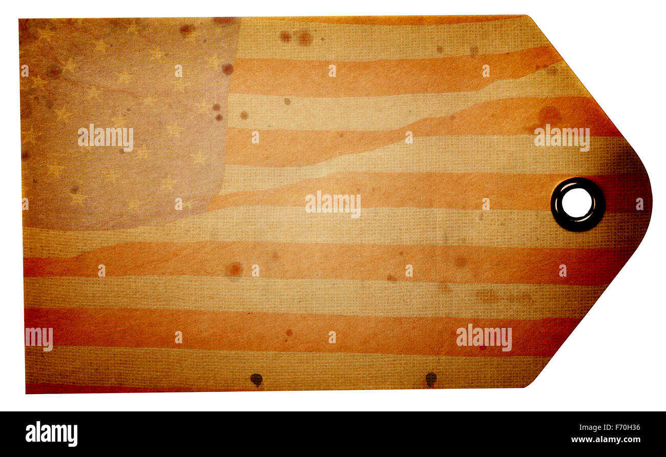 Blank rustic American flag beige gift tag isolated on a white background with clipping path - Stock Image