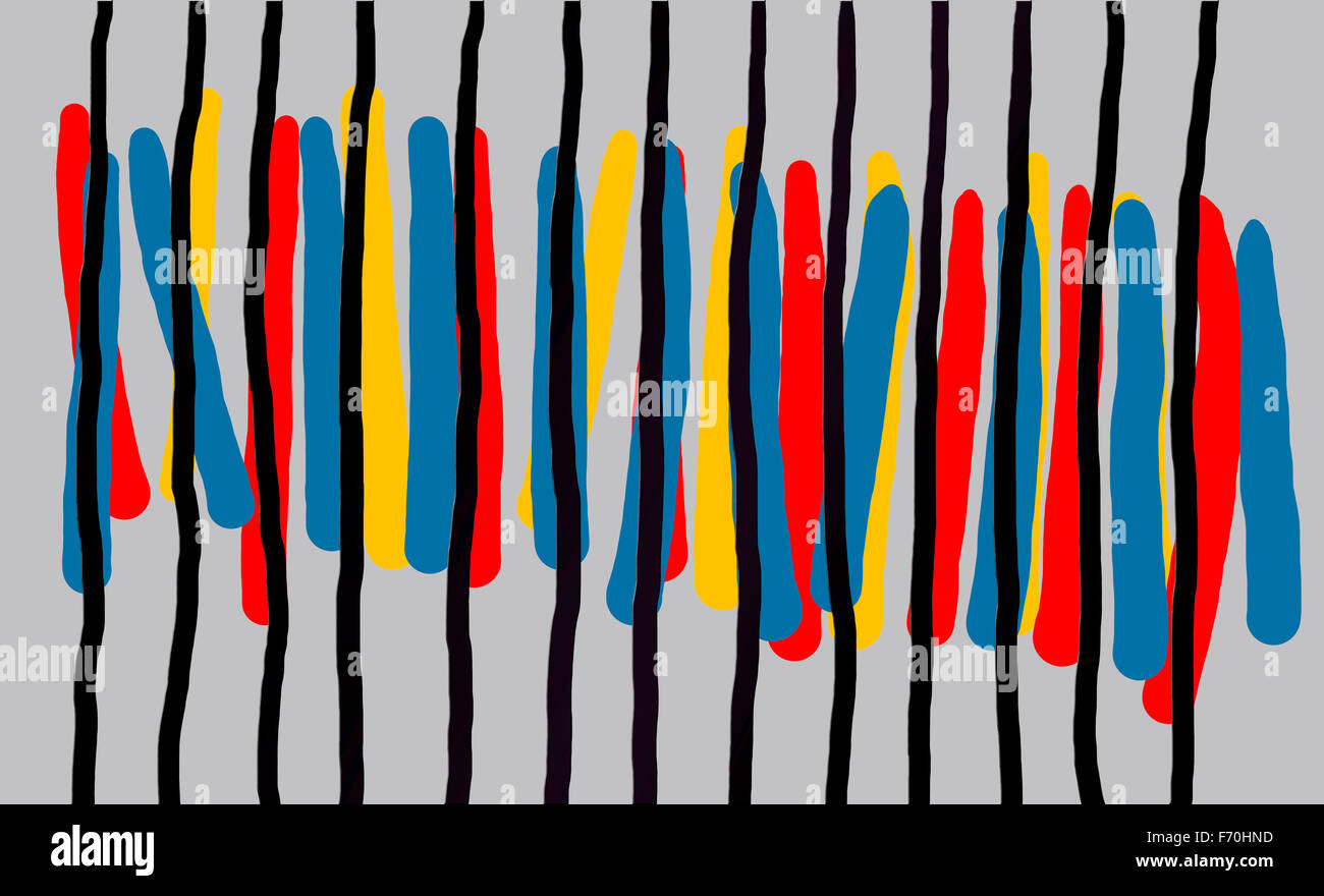 Abstract painting lines red blue yellow black - Stock Image