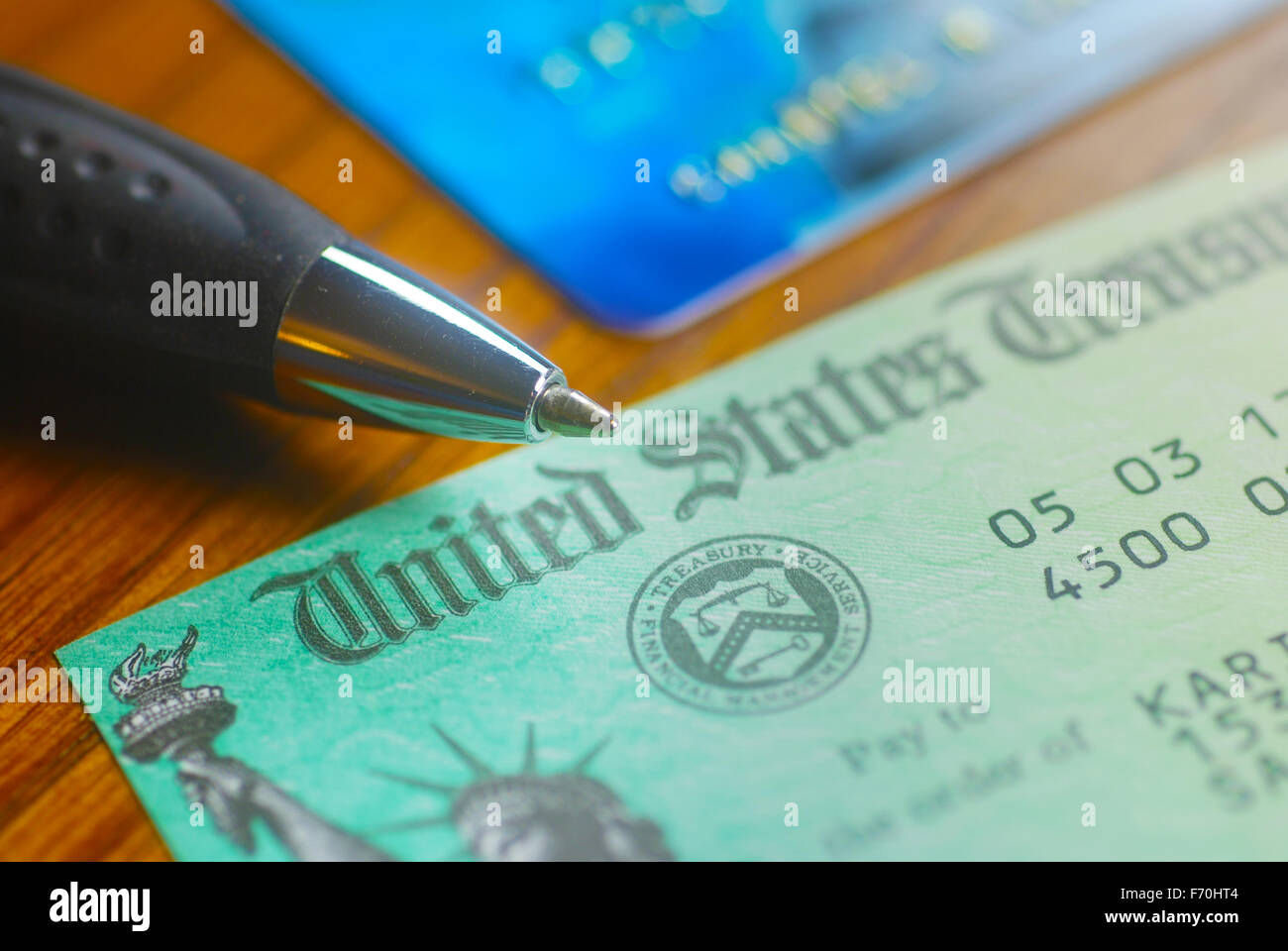 Paper check from the United States Treasury - Stock Image