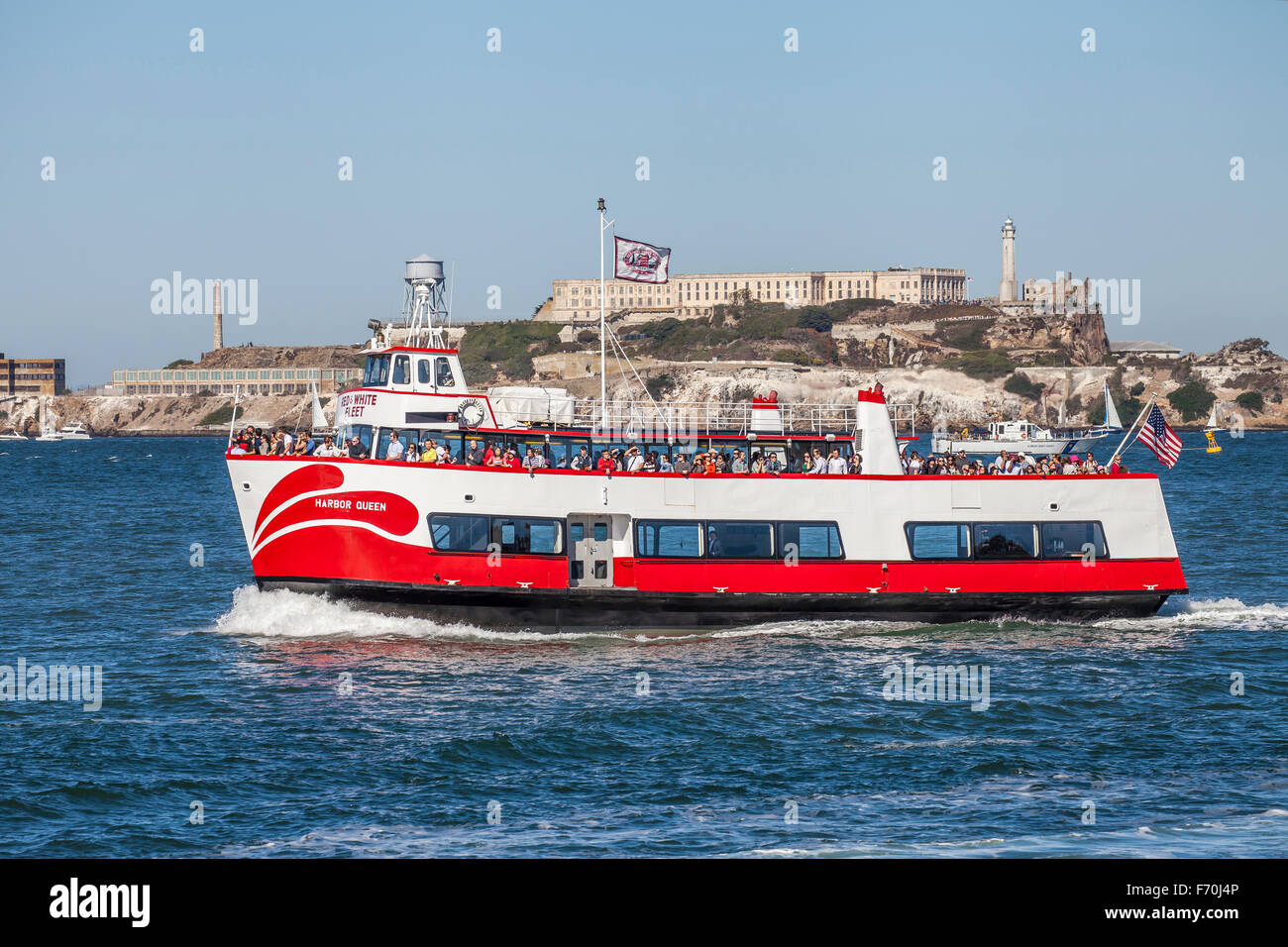 The Red and White ferry transporting passengers across the San Francisco Bay, San Francisco, California, USA - Stock Image