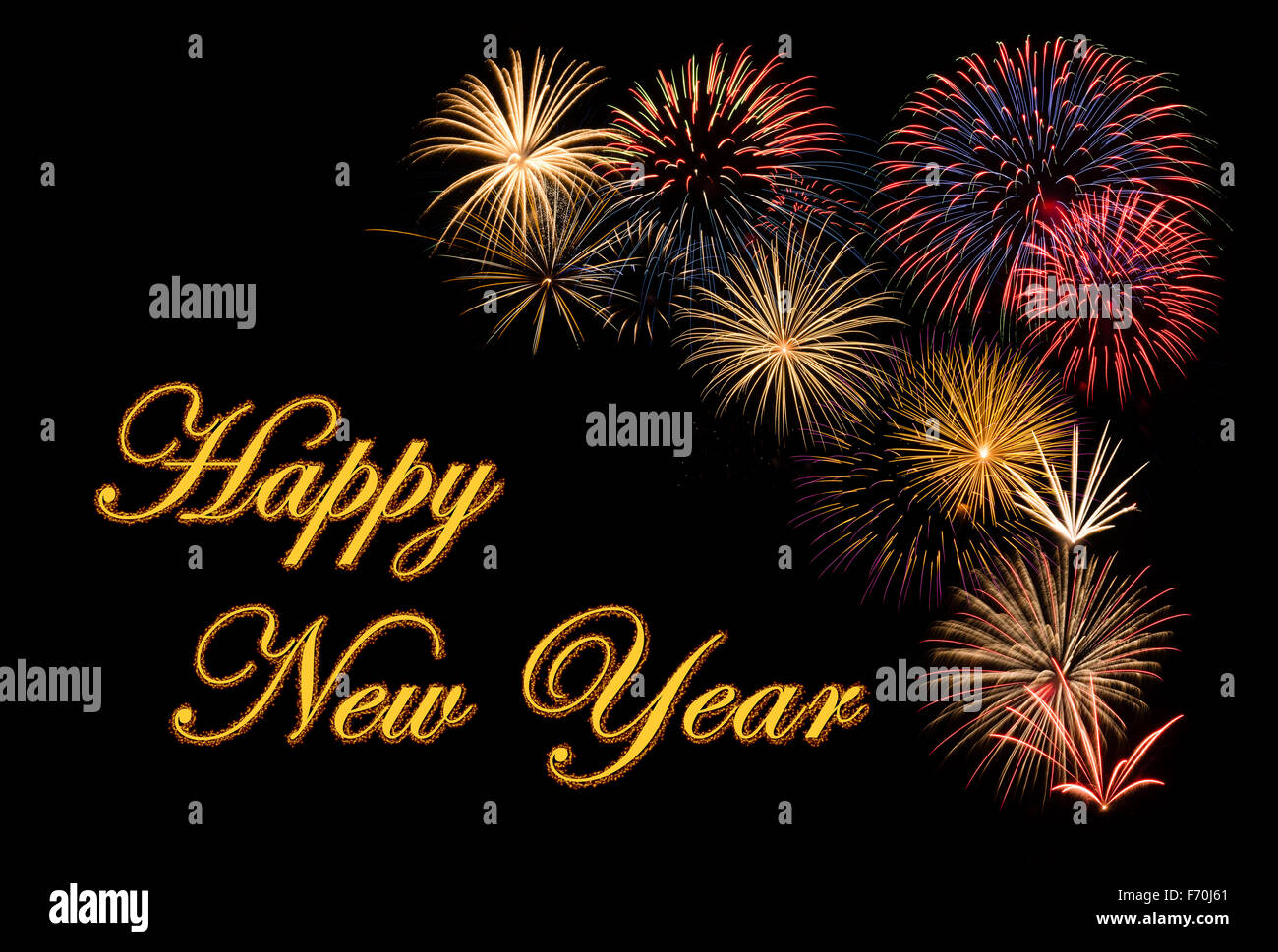 festive fireworks display for a happy new year wishes stock image
