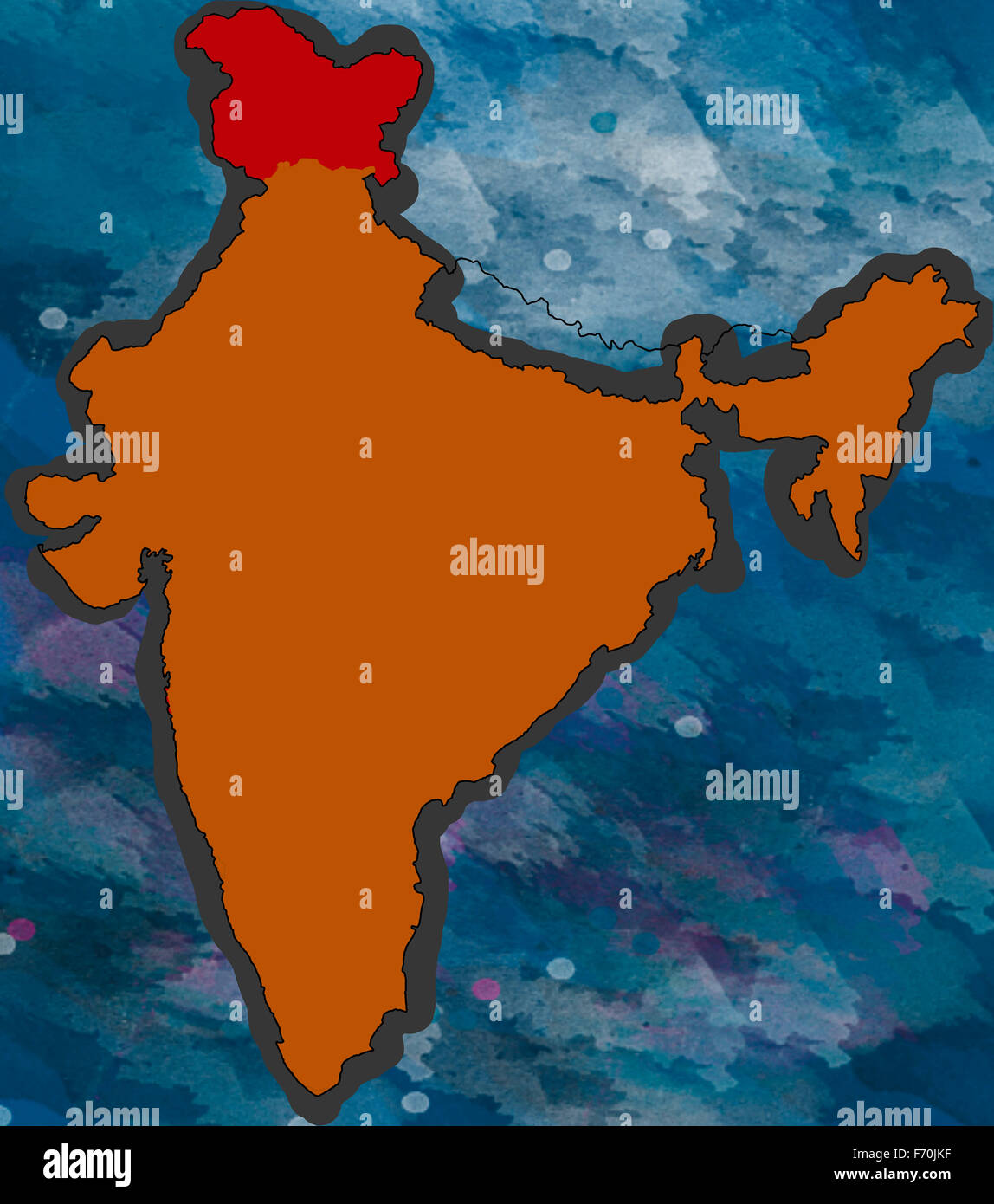 Illustration, jammu & kashmir location map, india, asia Stock Photo ...