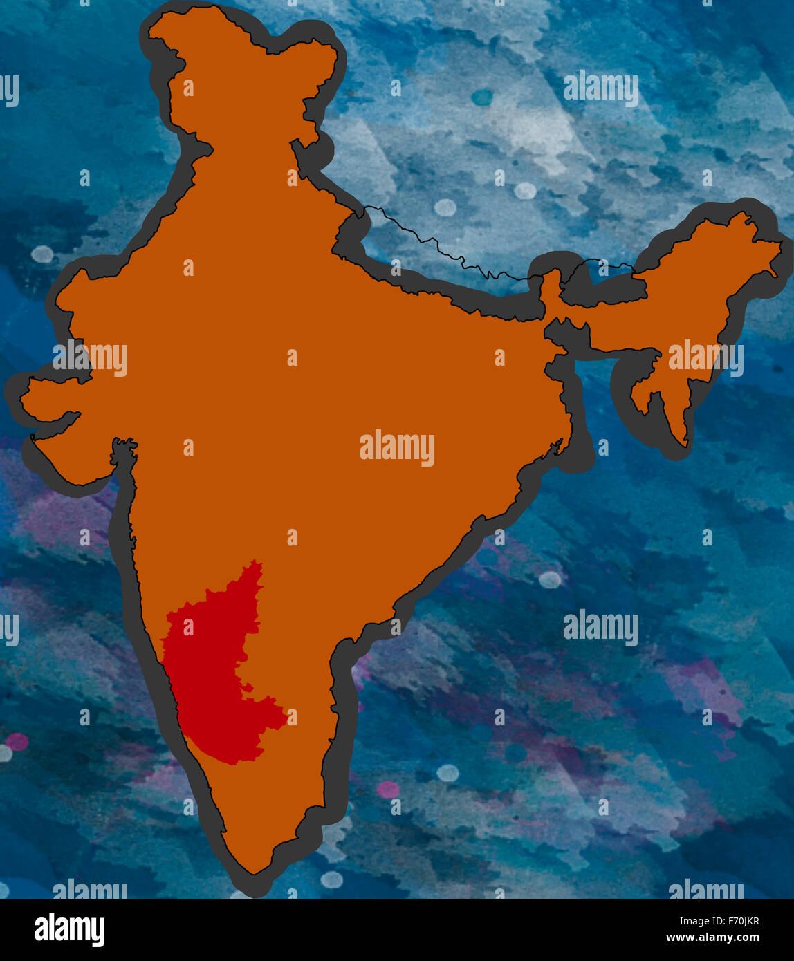 Illustration karnataka location map india asia Stock Photo