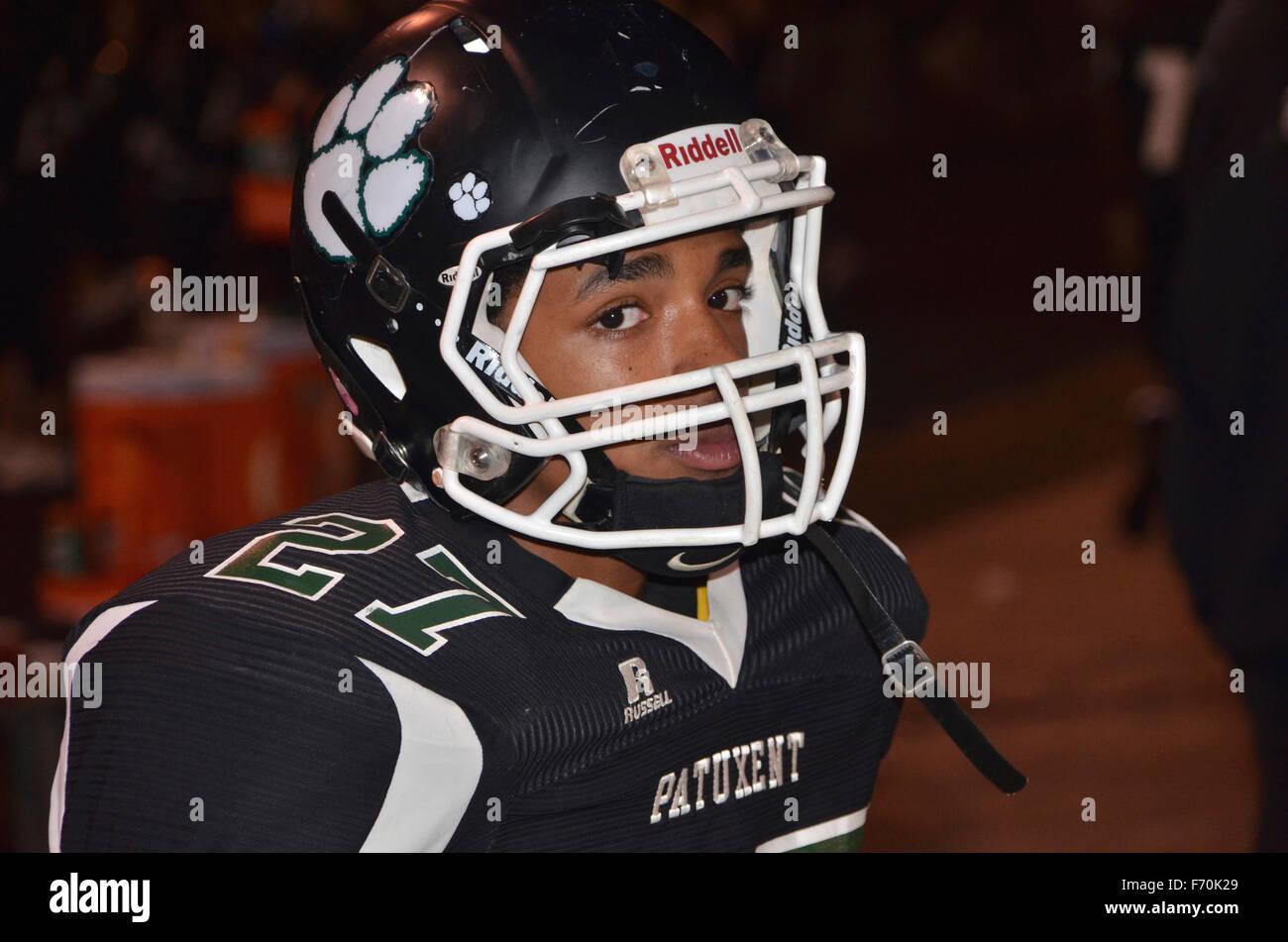 small teen football player - Stock Image