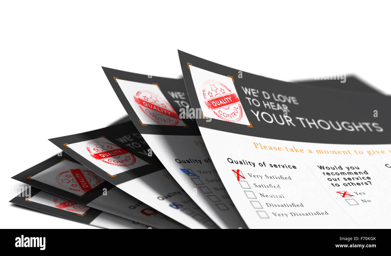 Five customer surveys over white background with excellent notation and recomendation, blur effect. Concept of feedbacks - Stock Image