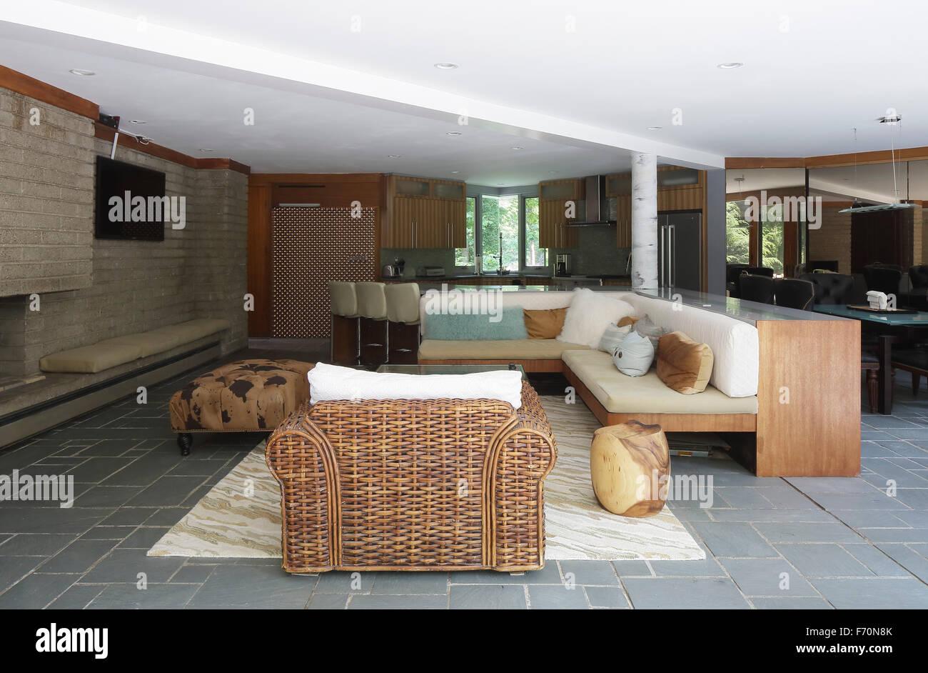 Living Room Area In Open Plan Usonia Town Of Mt Pleasant