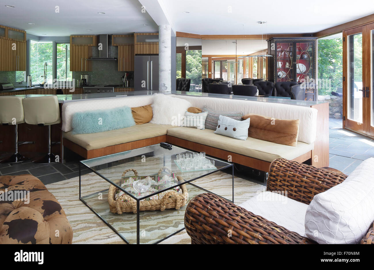 Living Room Kitchen And Dining Areas In Open Plan Usonia