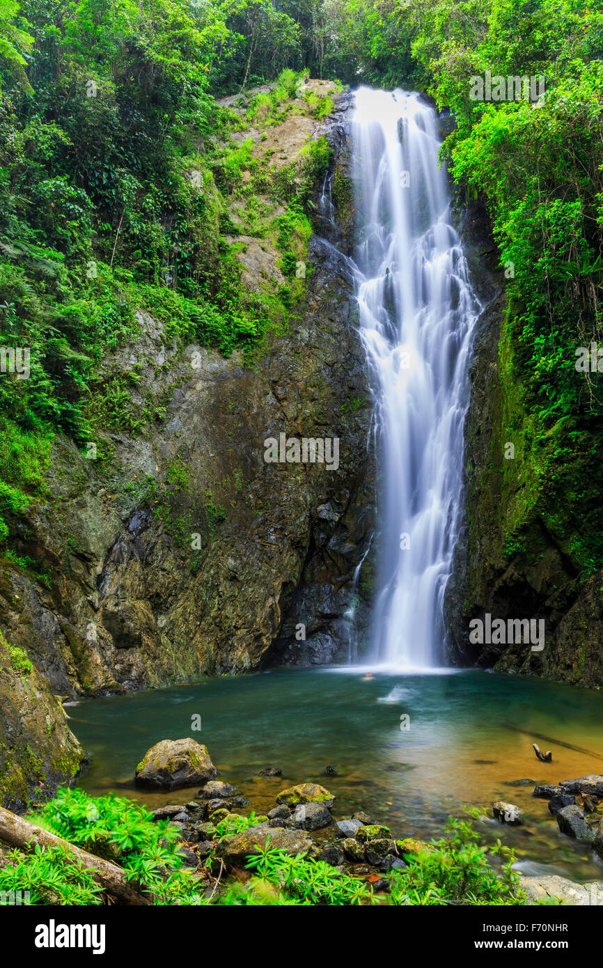 Magic Waterfall and natural pool in Suva, Fiji - Stock Image