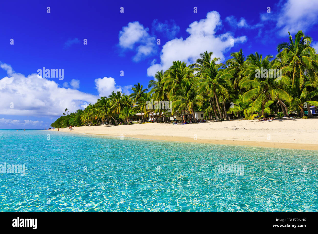 Beach on the tropical island & clear blue water. Dravuni Island, Fiji. - Stock Image