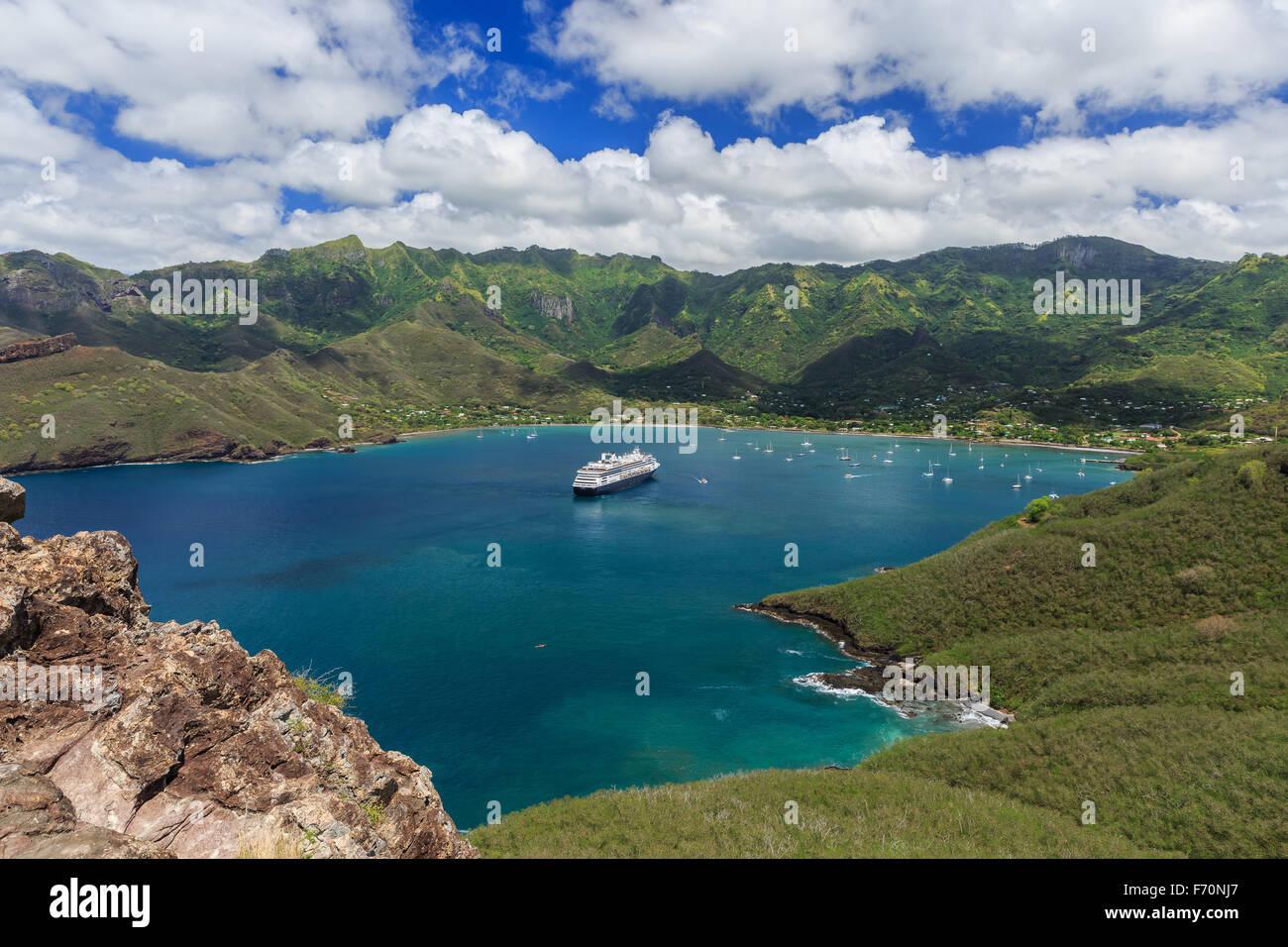 Bay of Taiohae on the island of Nuku Hiva, Marquesas Islands - Stock Image