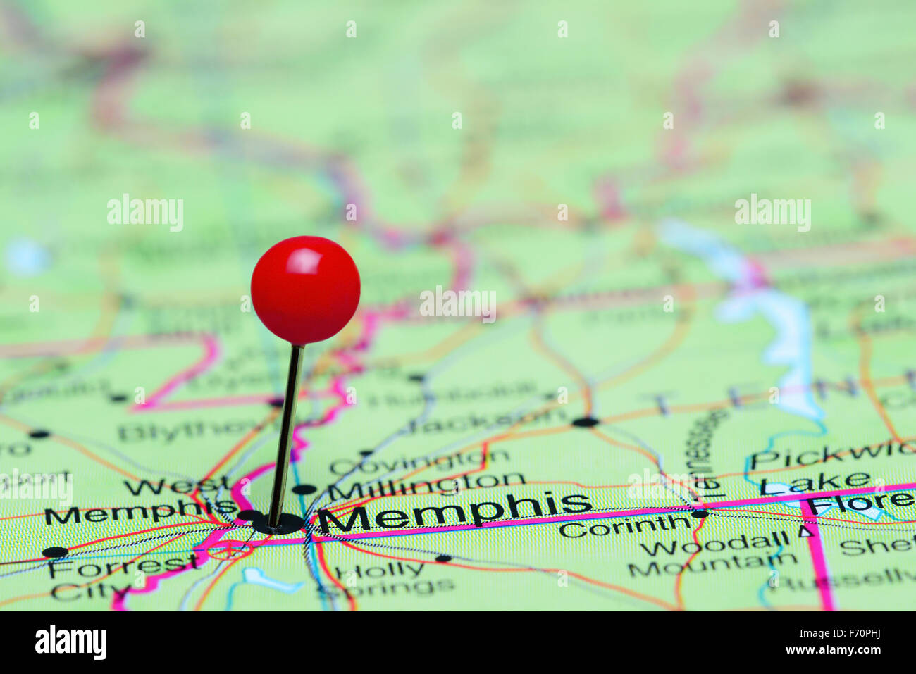 Memphis pinned on a map of USA - Stock Image