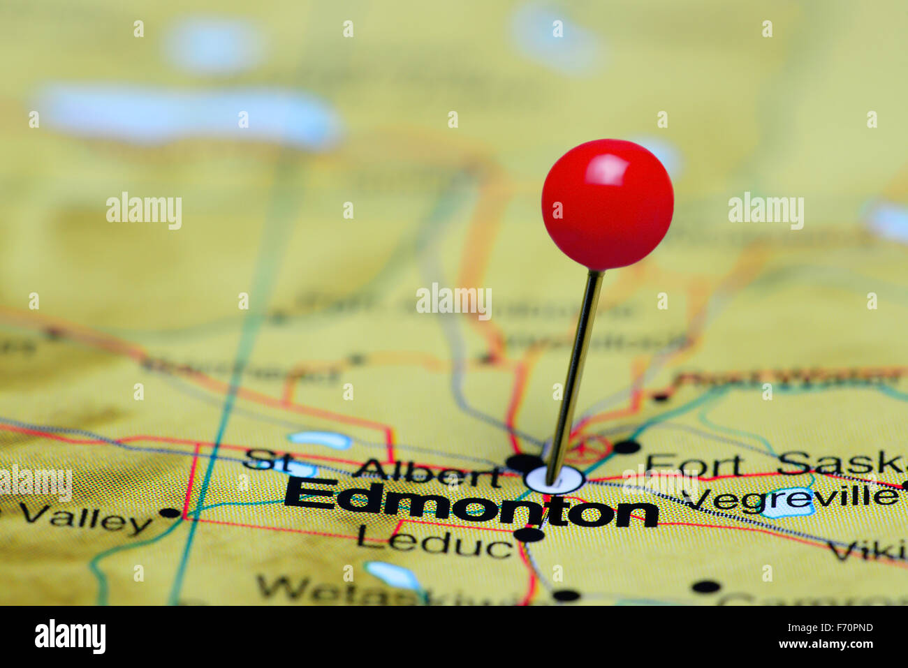 Edmonton On Map Of Canada.Edmonton Pinned On A Map Of Canada Stock Photo 90372281 Alamy