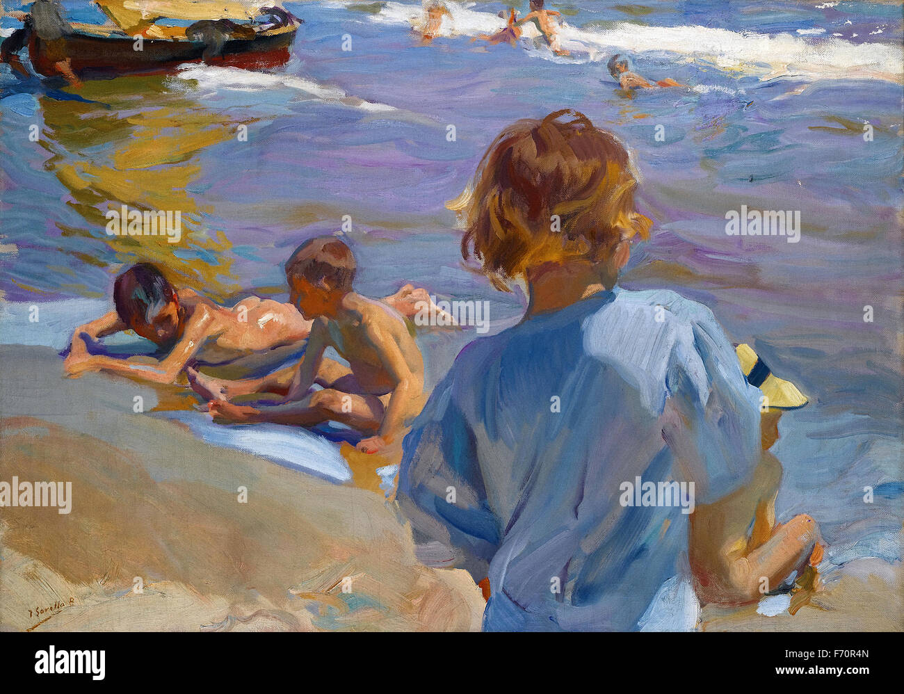 Joaquín Sorolla y Bastida - Children on the Beach, Valencia - Stock Image