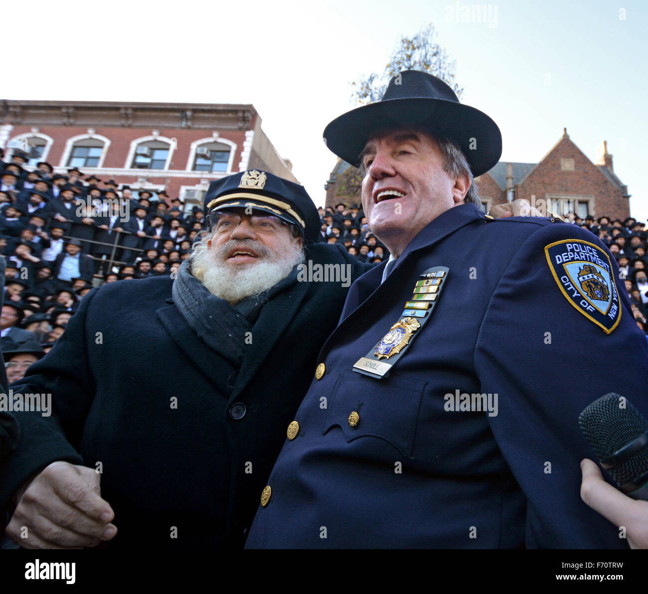 Hasidic Hats: Police Community Interaction Stock Photos & Police