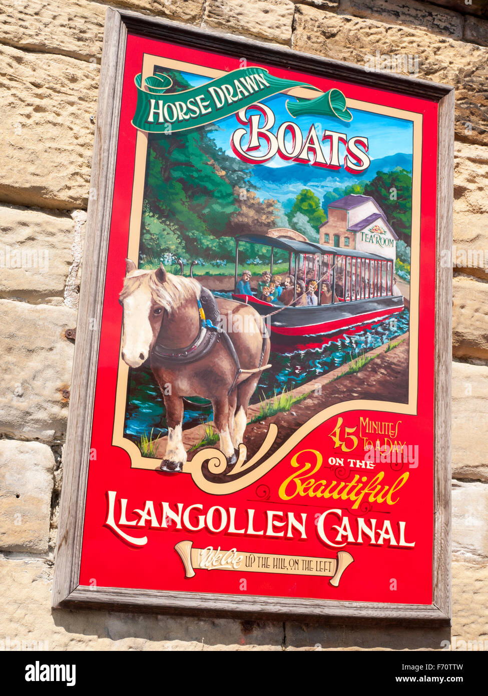Advertising sign for horse drawn boats in Llangollen Wales UK Stock Photo