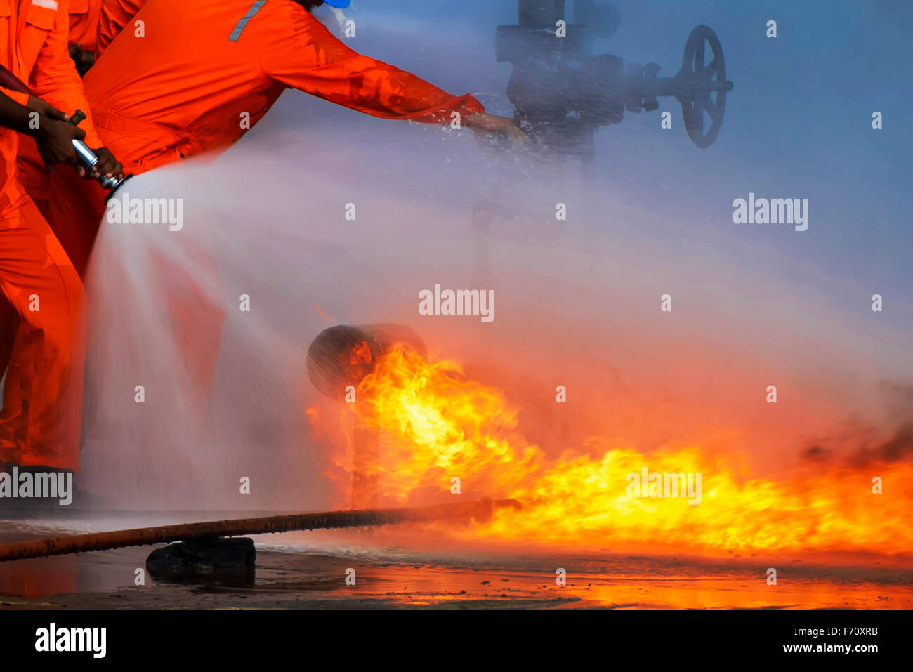 Fire fighters putting out fires, visakhapatnam, andhra pradesh, india, asia - Stock Image