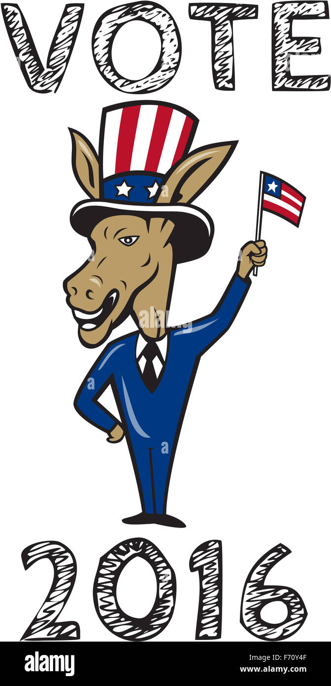 Illustration of a democrat donkey mascot of the democratic grand old party gop smiling looking to the side with one hand on hip Stock Photo