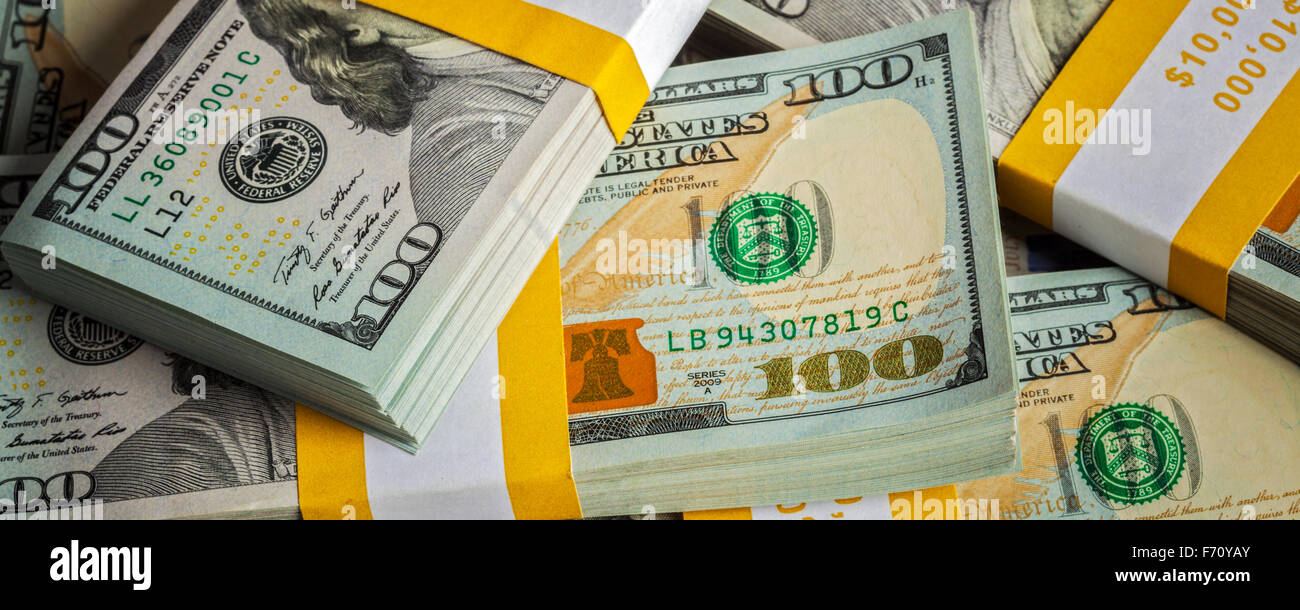Background of new US dollars banknotes bills - Stock Image