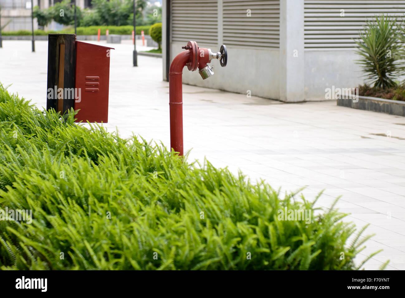 Fire safety hydrant valve, visakhapatnam, andhra pradesh, india, asia - Stock Image