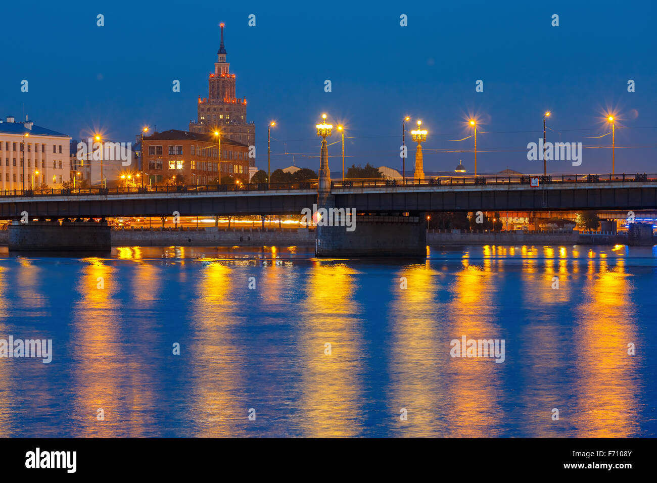 Latvian Academy of Sciences at night, Riga - Stock Image