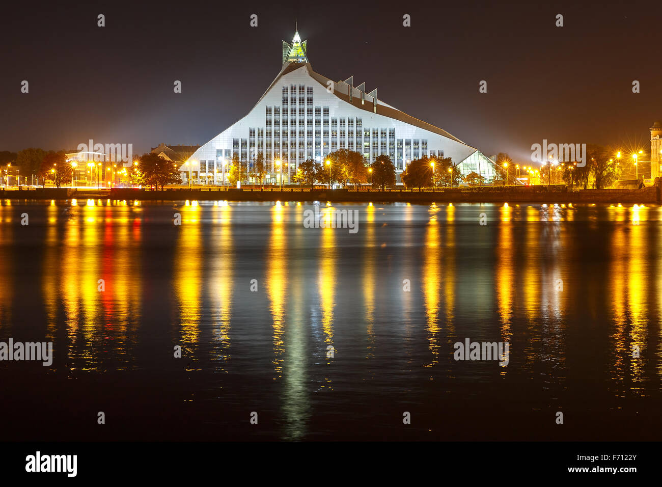 Latvian National Library at night, Riga, Latvia - Stock Image