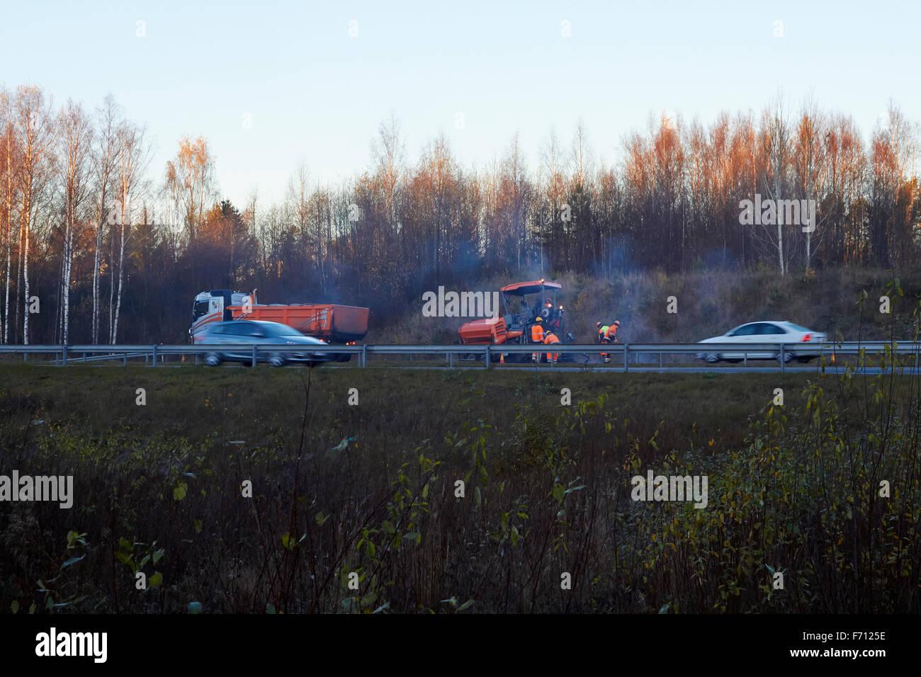 road surfacing crew, Finland - Stock Image
