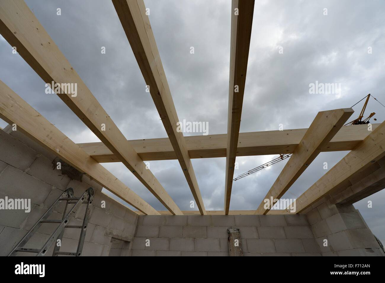 Construction area for a private house, Germany, near the city of Seesen 19. November 2015. Photo: Frank May Stock Photo