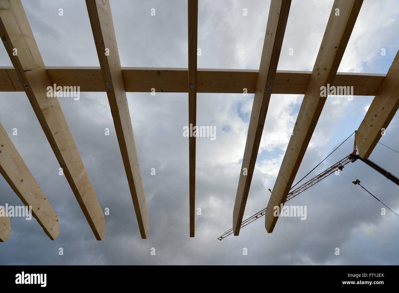 Construction area for a private house, Germany, near the city of Seesen 19. November 2015. Photo: Frank May - Stock Image