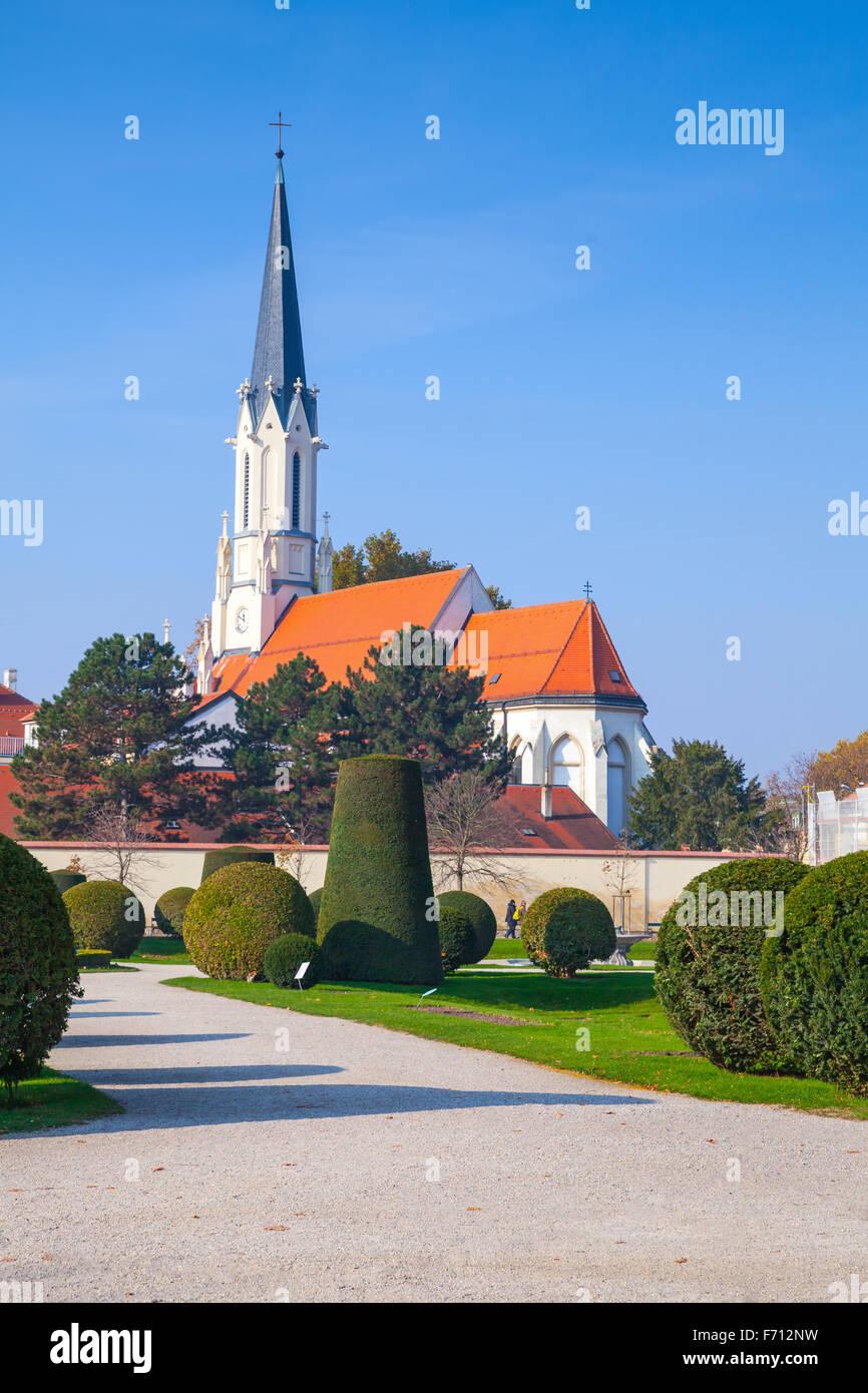 Catholic parish church Maria Hietzing in Vienna, Austria. Vertical photo - Stock Image