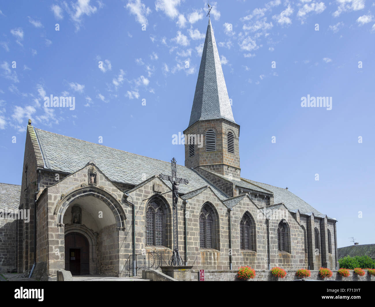 Church, Besse-et-Saint-Anastaise, Auvergne, France - Stock Image