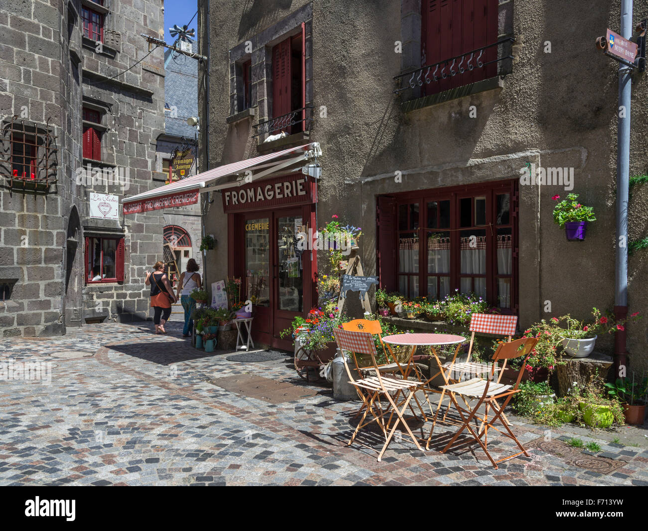 Historic centre with Fromagerie, Besse-et-Saint-Anastaise, Auvergne, France - Stock Image