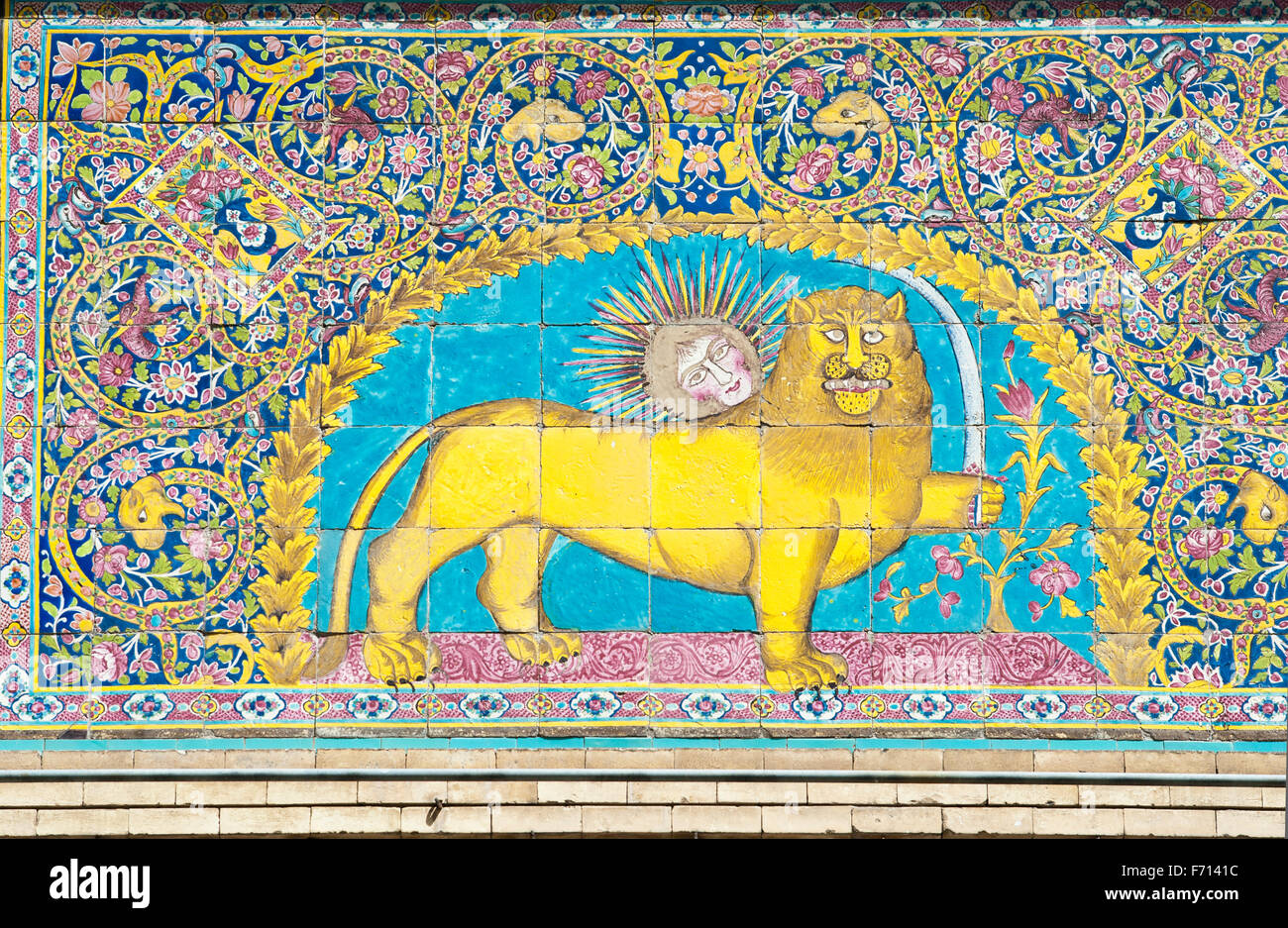 Persian national symbol, sun over lion with sword, glazed tiles ...