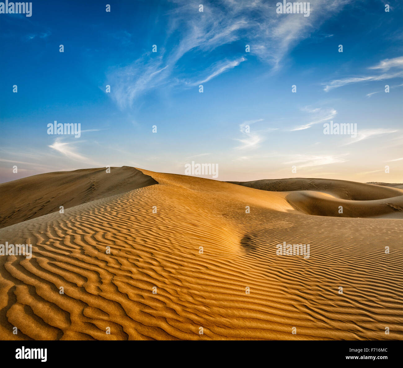 Dunes of Thar Desert, Rajasthan, India - Stock Image