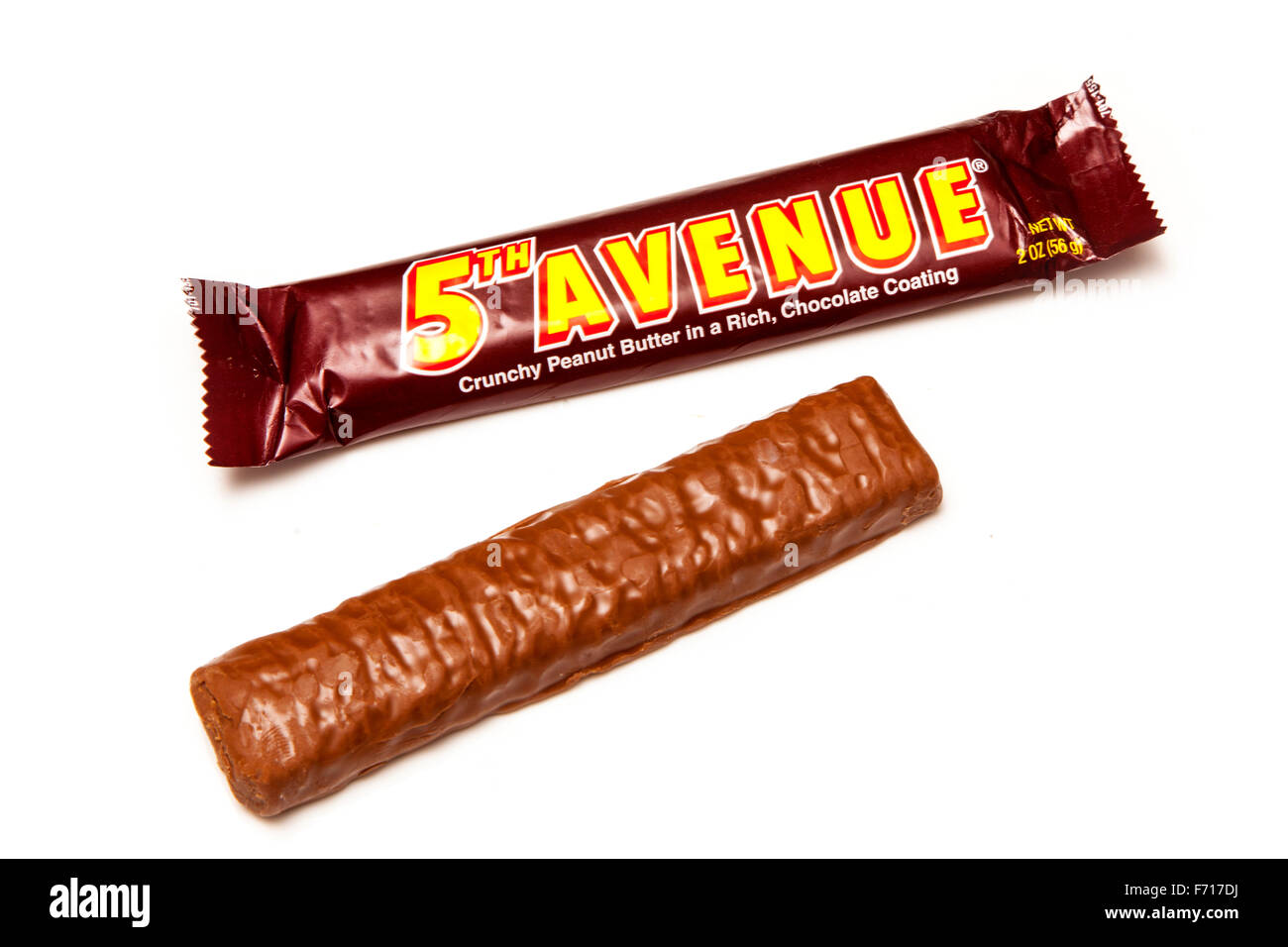 5th Avenue American candy or chocolate bar isolated on a white studio background. - Stock Image