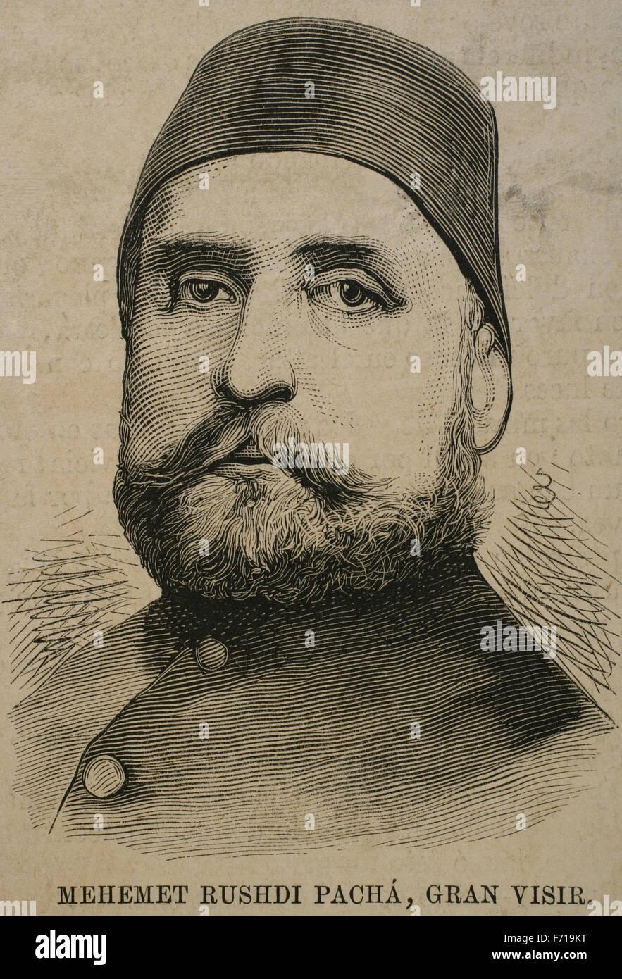 Mehmed Rushdi Pasha (1811-1876). Ottoman statesman. Portrait. Engraving. - Stock Image