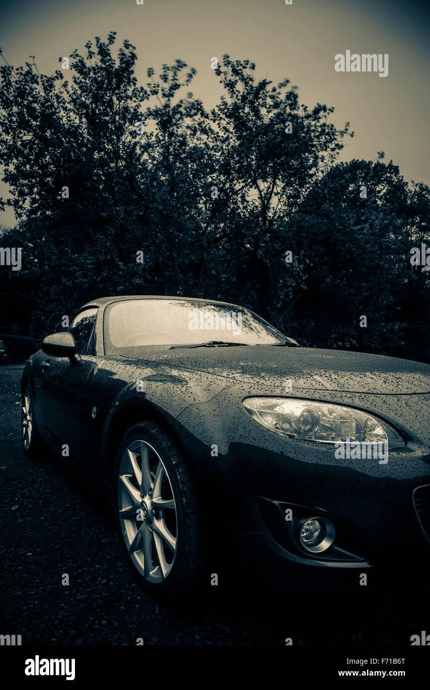 Sports Car Parked On A Private Driveway At Night Stock Photo