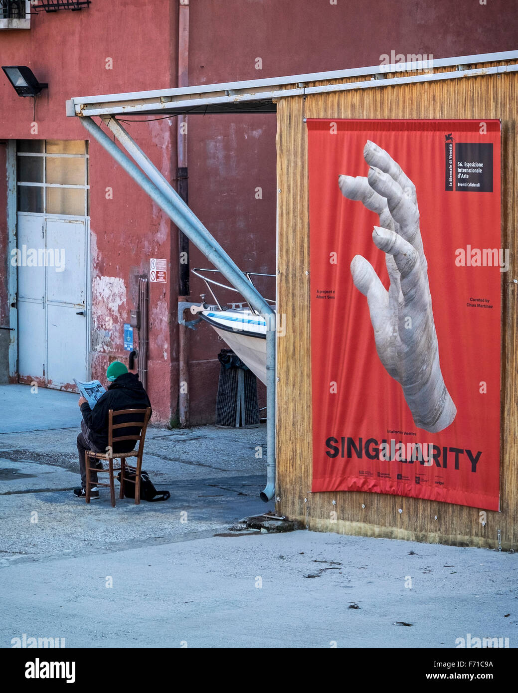 Venice, Italy - Poster for Catalonian artist, Albert Serra's 'Singularity' exhibition at the 2015 Venice - Stock Image